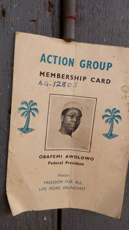 copy of a membership card of the defunct Action Group