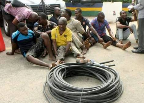 Cable thieves in Lagos