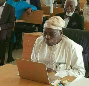 Obasanjo At His PhD External Defence at the National Open University of Nigeria